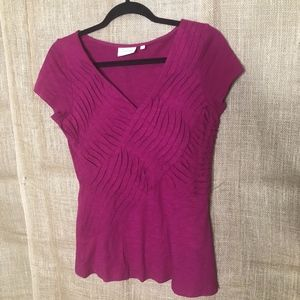 Deletta Anthropologie SZ S Pink Ruffle Top